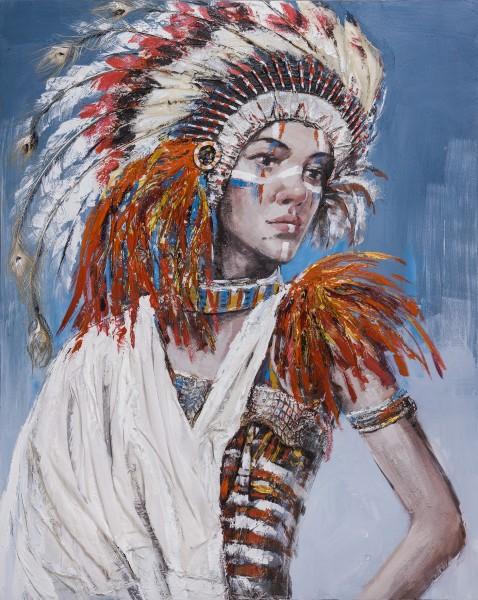 Wandbild FRAU MIT INDIANER-KOPFSCHMUCK 2, handgemalt in Acrylfarben