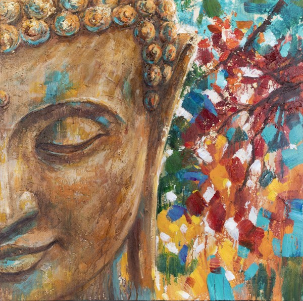 Wandbild PART OF BUDDHA 2, handgemalt,  in Acrylfarben