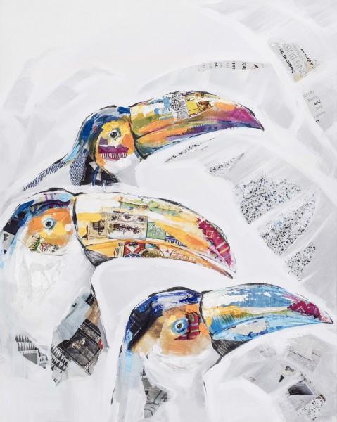 Wandbild TUKAN, handgemalt, in Acrylfarben