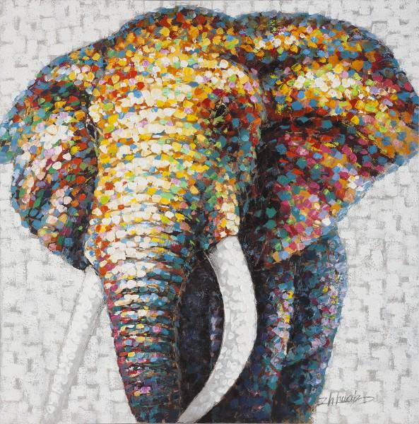 Wandbild ELEFANTENKOPF 2, handgemalt, in Acrylfarben