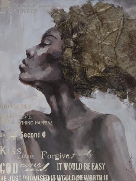 Wandbild FRAUENKOPF 1, handgemalt, in Acrylfarben