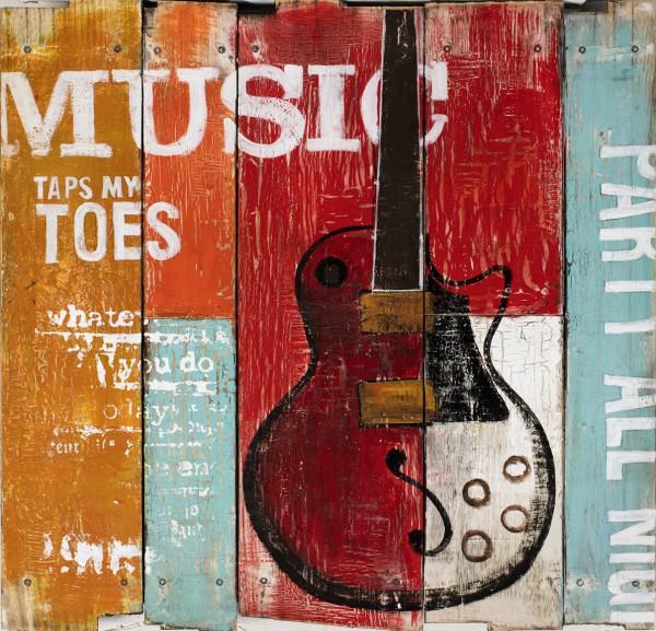 Wandbild auf Holz Musik