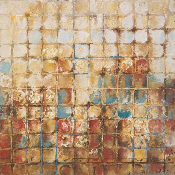 Wandbild ABSTRAKTE QUADRATE, handgemalt, in Acrylfarben