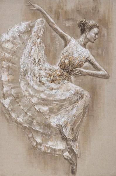 Wandbild BALLERINA TANZEND, handgemalt, in Acrylfarben
