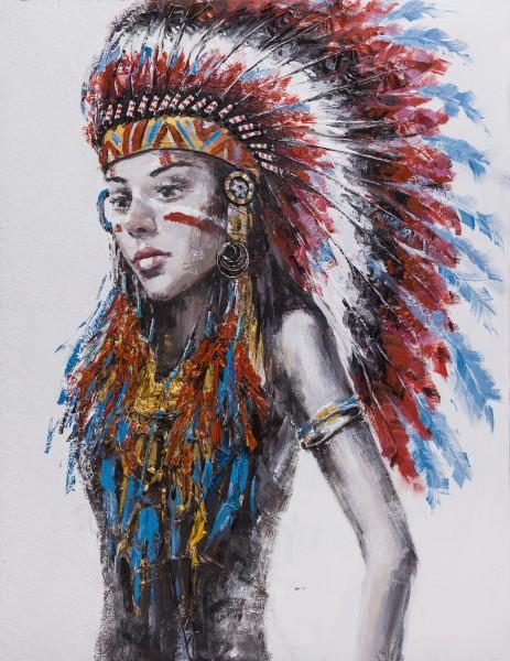 Wandbild FRAU MIT INDIANER-KOPFSCHMUCK 1, handgemalt, in Acrylfarben