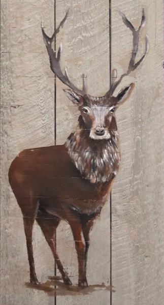 Wandbild auf Holz BRUNFT-HIRSCH No. 1