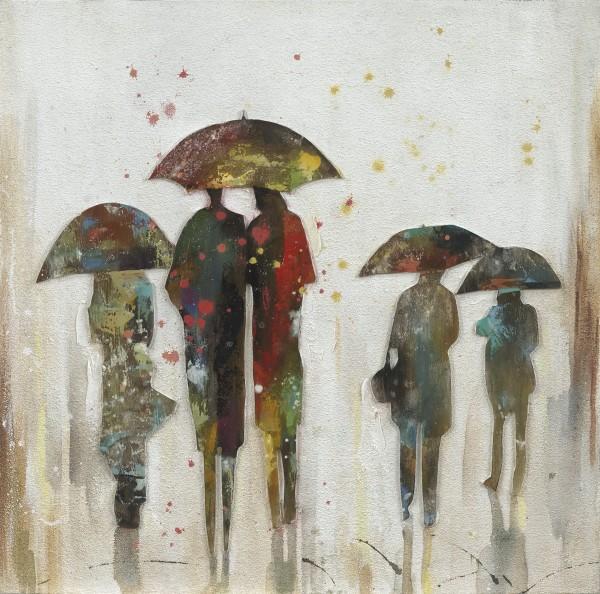 Wandbild MENSCHEN IM REGEN, handgemalt, in Acrylfarben
