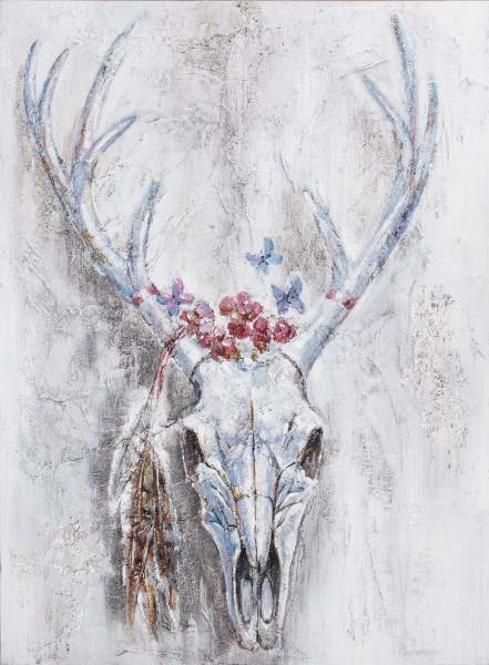 Wandbild HIRSCHGEWEIH BLUMEN, handgemalt,  in Acrylfarben