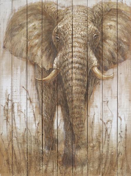 Wandbild auf Holz Elefant Nr. 6