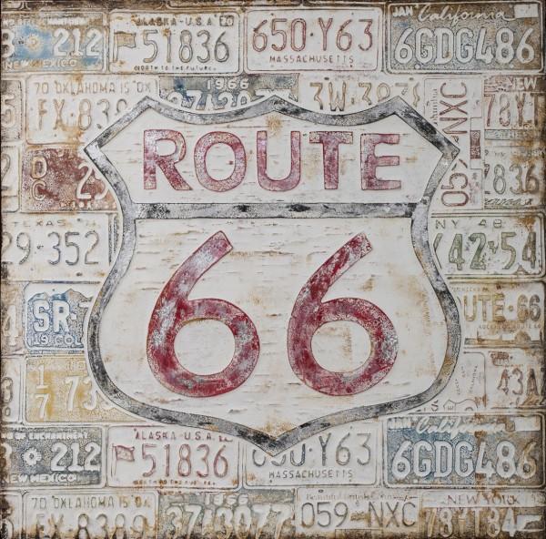 Struktur-Wandbild mit Rahmen Route 66