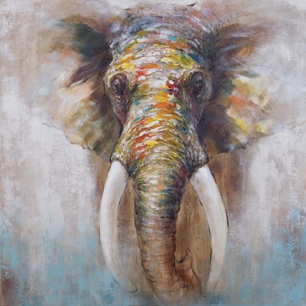 Wandbild ELEFANT 3, handgemalt,  in Acrylfarben