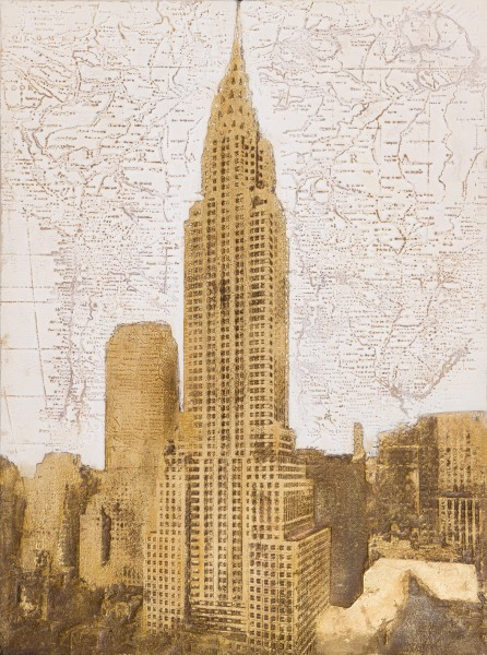 Wandbild EMPIRE STATE BUILDING, handgemalt, in Acrylfarben