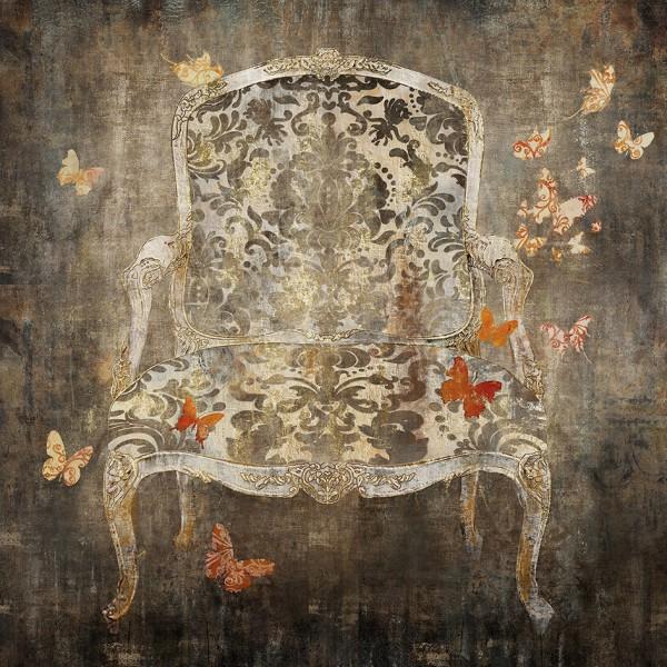 Holz-Wandbild BAROCKSESSEL 1, in Acrylfarben