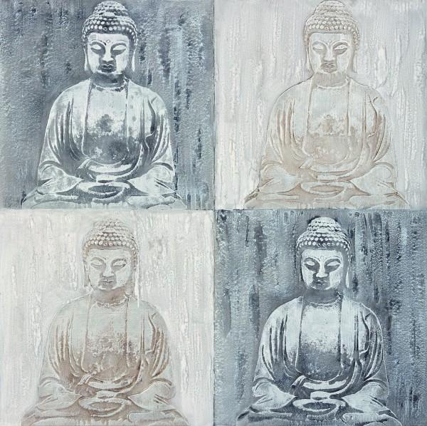 Wandbild BUDDHAS, handgemalt, in Acrylfarben
